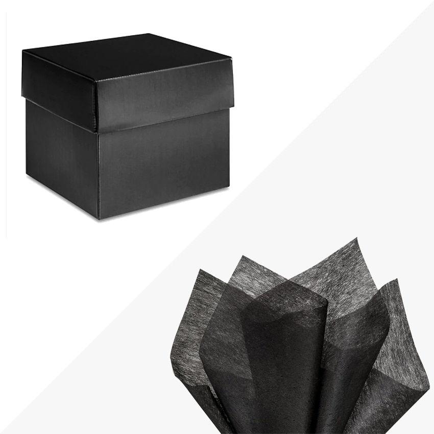 """Black High Gloss Gift Box 6x6x5"""" BLACK Tissue Paper Included"""