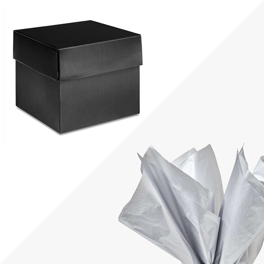 """Black High Gloss Gift Box 6x6x5"""" METALLIC SILVER Tissue Paper Included"""