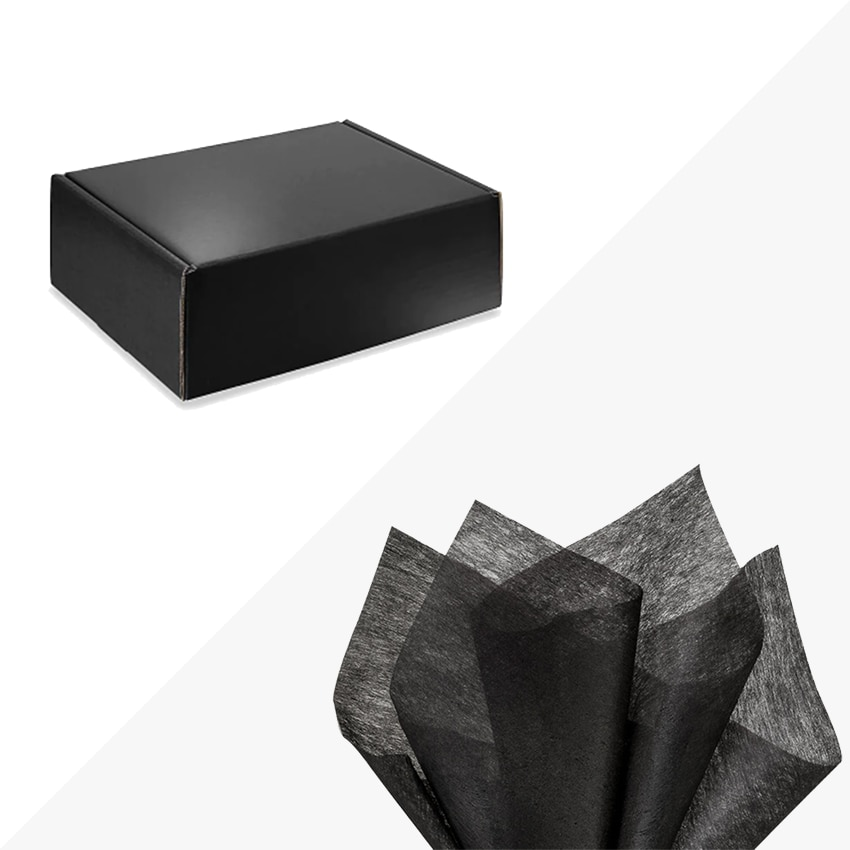 """Black 11-1/8 x 8-3/4 x 4"""" High Gloss Gift Box BLACK Tissue Paper Included"""
