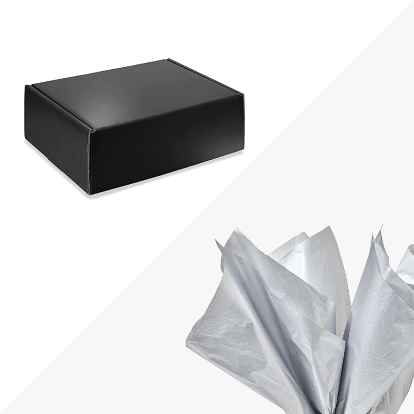 """Black 11-1/8 x 8-3/4 x 4"""" High Gloss Gift Box METALLIC SILVER Tissue Paper Included"""